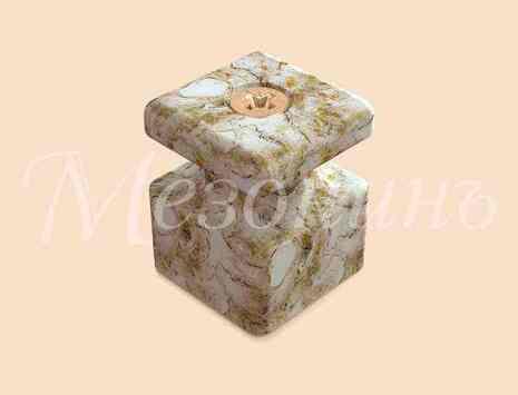 Изолятор фарфоровый квадратный в комплекте с саморезами, размеры: 20х20х25мм МезонинЪ, цвет - мрамор, GE80027-19