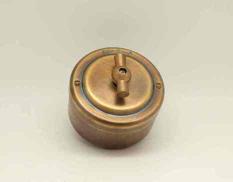 Выключатель 1-кл (проходной) PETRUCCI поворотный четырёхпозиционный, латунь, цвет умбра