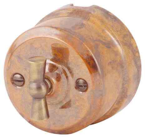 Выключатель 1-кл (проходной) ретро Гефест 340-Г Lindas 2-х позиционный
