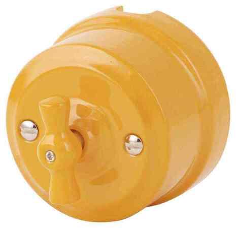Выключатель 1-кл (проходной) ретро золотистая охра 340-ЗО Lindas 2-х позиционный