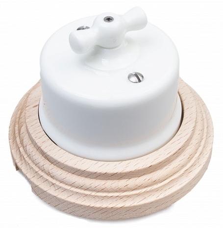 Выключатель 1-кл (проходной) Combi-1 BIRONI, 10А, 250В, D65*48мм в комплекте с 1-местной рамкой BIRONI 96*96*21мм B1-201-01/С1 Белый
