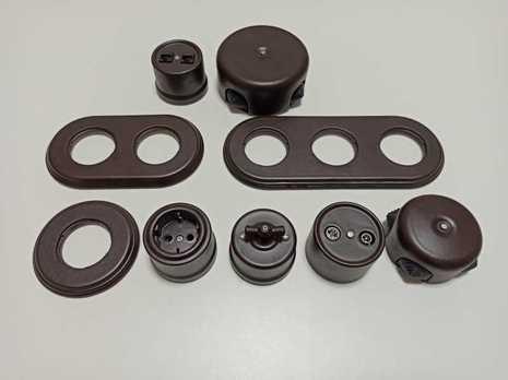 Выключатель 1-кл (проходной) B1-201-02M Bironi керамика, коричневый матовый