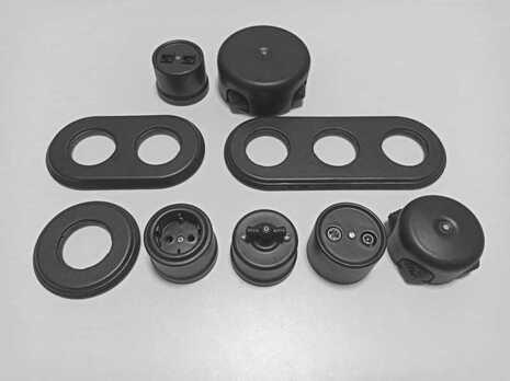 Выключатель 1-кл (проходной) B1-201-03M Bironi керамика, черный матовый