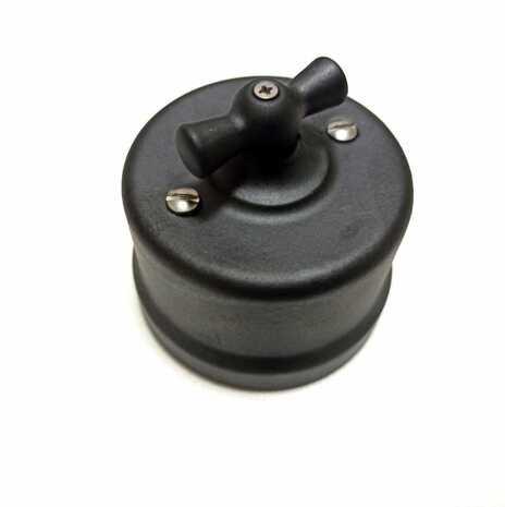B1-202-03M Bironi Выключатель двухклавишный, черный матовый