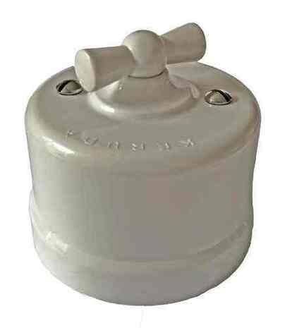 Ретро выключатель поворотный (2-кл)-АБС пластик KERUDA белый арт. KBSw2-01