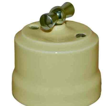 Выключатель 1-кл (проходной) поворотный керамический с серебристой ручкой KERUDA VERONA слоновая кость арт.KGChSw1-К02
