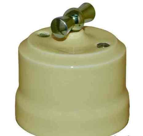 Выключатель поворотный 2-КЛ керамический с серебристой ручкой KERUDA VERONA слоновая кость арт.KGChSw2-К02
