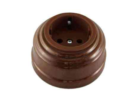 Leanza Розетка с/з, цвет bruno (коричневый), серебристый саморез РКС