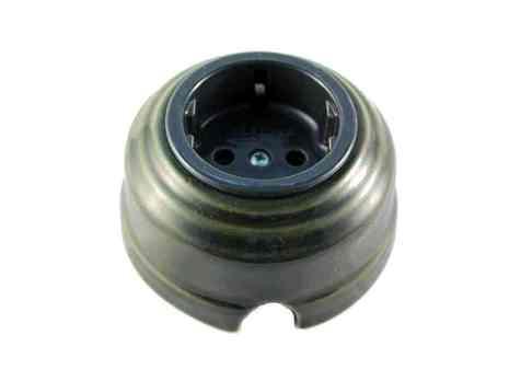 Leanza Розетка проходная с/з, цвет grigio (серый), серебристый саморез РПСС