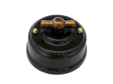 Выключатель 1-кл (проходной) Leanza поворотный, цвет nero (черный), ручка бронза ВП1ЧБ