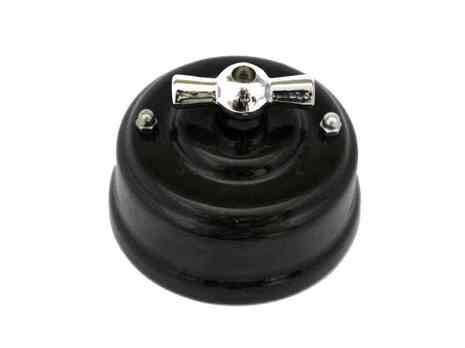 Выключатель 1-кл (проходной) Leanza поворотный, цвет nero (черный), ручка серебро ВП1ЧС