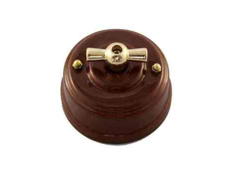 Выключатель 1-кл (проходной) Leanza поворотный, цвет bruno (коричневый), ручка золото ВП1КЗ