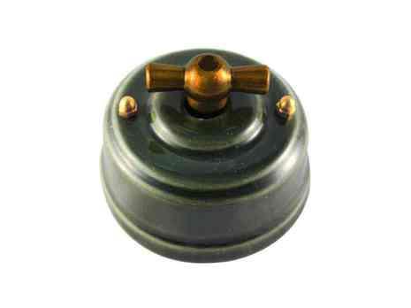 Выключатель 1-кл (проходной) Leanza поворотный, цвет grigio (серый), ручка бронза ВП1СБ