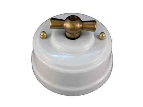 Leanza Выключатель поворотный двухклавишный, цвет bianco (белый), ручка бронза ВП2ББ