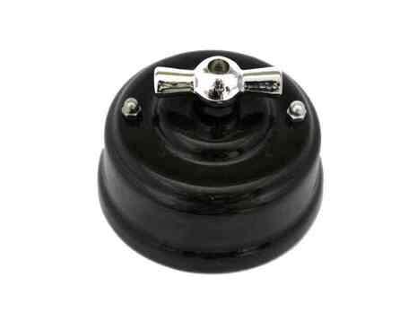 Leanza Выключатель поворотный двухклавишный, цвет nero (черный), ручка серебро ВП2ЧС