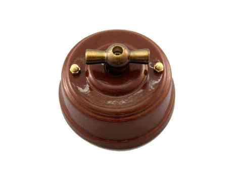 Leanza Выключатель поворотный двухклавишный, цвет bruno (коричневый), ручка бронза ВП2КБ