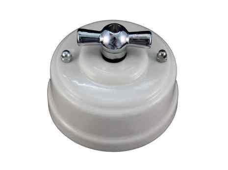 Выключатель 1-кл (проходной) Leanza поворотный, цвет bianco (белый), ручка серебро ВППБС
