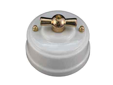 Выключатель 1-кл (проходной) Leanza поворотный, цвет bianco (белый), ручка золото ВППБЗ