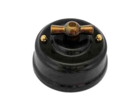 Выключатель 1-кл (проходной) Leanza поворотный, цвет nero (черный), ручка бронза ВППЧБ