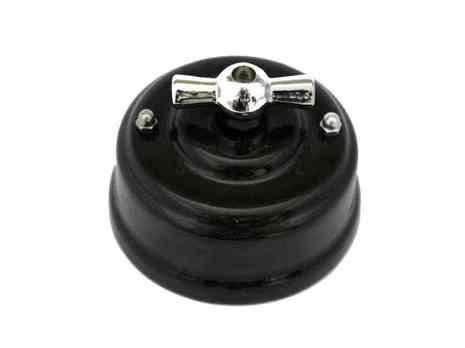 Выключатель 1-кл (проходной) Leanza поворотный, цвет nero (черный), ручка серебро ВППЧС