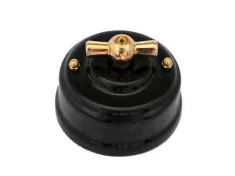 Выключатель 1-кл (проходной) Leanza поворотный, цвет nero (черный), ручка золото ВППЧЗ
