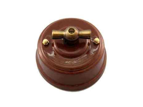 Выключатель 1-кл (проходной) Leanza поворотный, цвет bruno (коричневый), ручка бронза ВППКБ