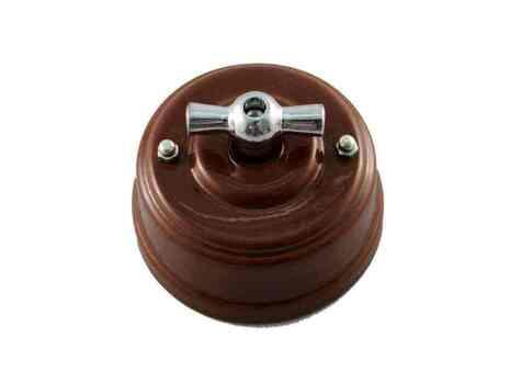 Выключатель 1-кл (проходной) Leanza поворотный, цвет bruno (коричневый), ручка серебро ВППКС