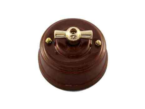 Выключатель 1-кл (проходной) Leanza поворотный, цвет bruno (коричневый), ручка золото ВППКЗ