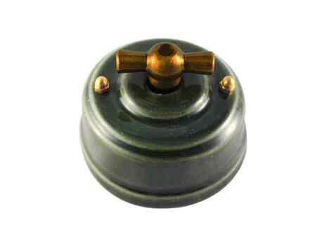 Выключатель 1-кл (проходной) Leanza поворотный, цвет grigio (серый), ручка бронза ВППСБ