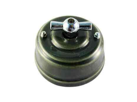 Выключатель 1-кл (проходной) Leanza поворотный, цвет grigio (серый), ручка серебро ВППСС
