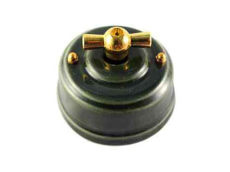 Выключатель 1-кл (проходной) Leanza поворотный, цвет grigio (серый), ручка золото ВППСЗ