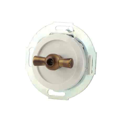 880604-2 Выкл 2кл, поворотный 10 A, 250 B белый/бронза