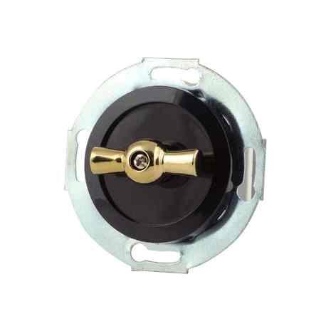 880606-1 Выкл 2кл, поворотный 10 A, 250 B чёрный/золото