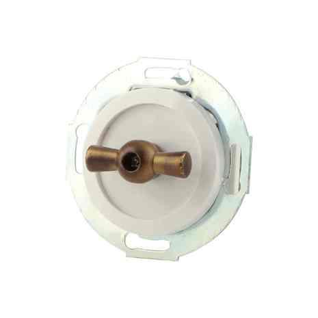 880704-2 Выкл 1кл, проходной, поворотный 10 A, 250 B  белый/бронза