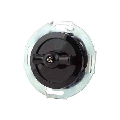 880705-4 Выкл 1кл, проходной, поворотный 10 A, 250 B   чёрный/чёрный металл