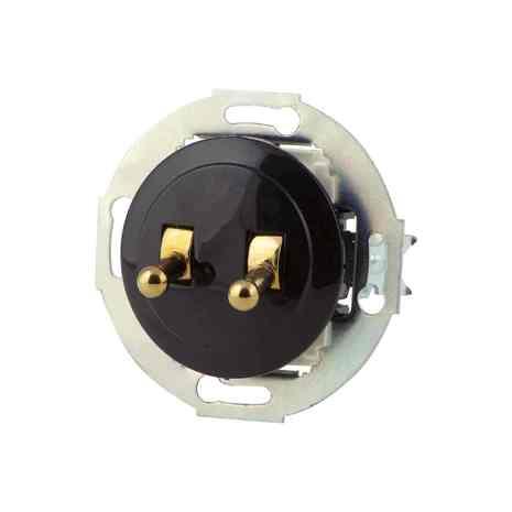882408-1-Gold Выкл 2кл, тумблерный, проходной 10 A, 250 B чёрный/золото