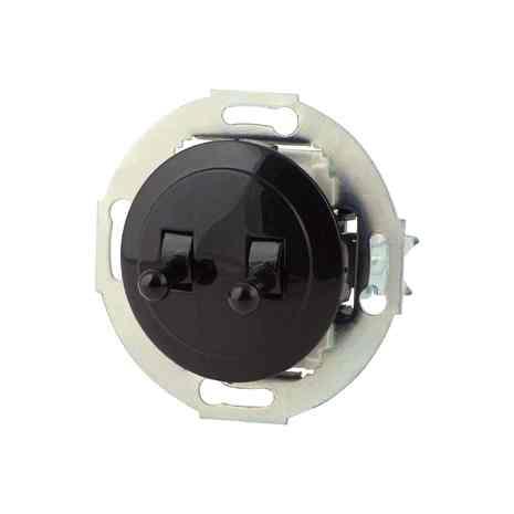 Выключатель двухклавишный ретро, тумблерный, проходной 10 A, 250 B чёрный/чёрный металл 882408-4