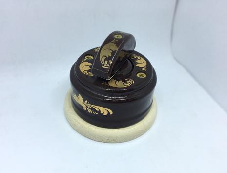 Выключатель 1-кл (проходной) 2х позиц. (Магия золота) с подроз. береза с кер ручкой (ПОЛУМЕСЯЦ) арт.Z003079