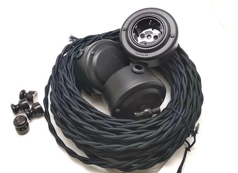 Выключатель 1-кл (проходной) PETRUCCI поворотный четырёхпозиционный, сталь, цвет чёрный муар, арт. 35ST4