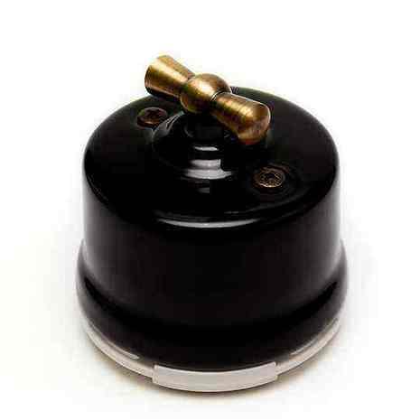 OP21BL Выключатель 4-х позиционный для наружного монтажа оконечный (Двухклавишный), черный