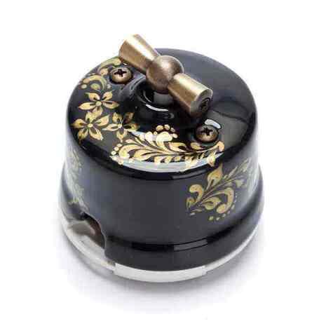 OP21BL.GD Выключатель 4-х позиционный для наружного монтажа оконечный (Двухклавишный), черный с золотой росписью
