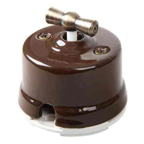 OP31BR Выключатель перекрестный для наружного монтажа, коричневый