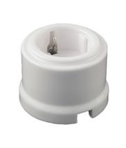 Розетка электрическая керамическая -цвет белый, с заземляющим контактом. 240V, 16A. 060-769