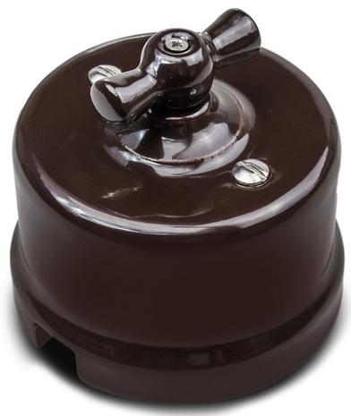 Выключатель 1-кл (проходной) В1-201-02 Bironi керамика, коричневый