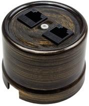 В1-302-25 Bironi Компьютерная розетка двойная, бронза