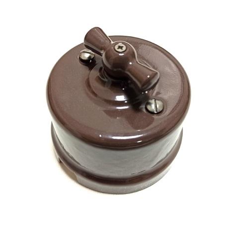 B1-202-06 Bironi Выключатель двухклавишный, темный шоколад